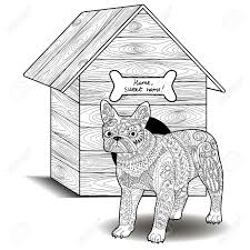 dog standing in front of the doghouse antistress coloring