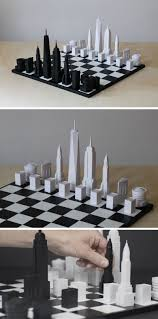 iconic new york city buildings are the pieces in this chess set