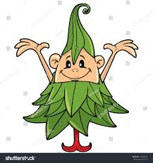 drawing happy christmas tree costume character stock vector