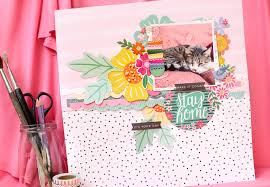 oh my heart stay home layout pink paislee