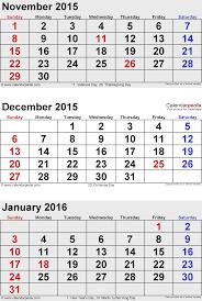 december 2015 calendar printable version january 2015 calendars for word excel pdf