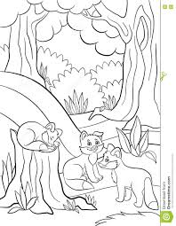 coloring pages wild animals three little cute baby fox stock