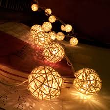 20 led warm white rattan ball string fairy lights for christmas