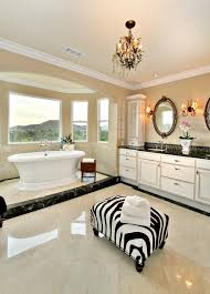 crema marfil marble bathroom contemporary with alcove animal print