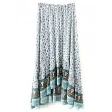 white l bohemian patterned high low maxi skirt rosegal com