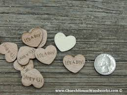 a boy wood heart confetti for baby showers rustic baby shower ideas