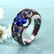 blue wedding rings heart cut lab created blue sapphire black wedding ring for women