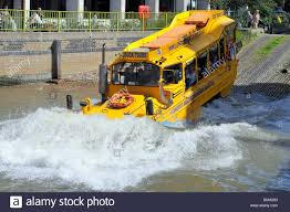 amphibious vehicle duck tours amphibious vehicle entering river thames stock photo