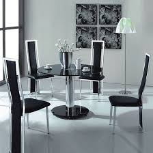 Black Round Dining Room Table by Vo1 Black Glass Round Dining Table With Four Chairs Hgtv