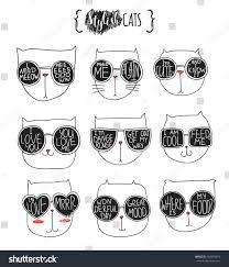 set cute doodle cats glasses sketch stock vector 383293819