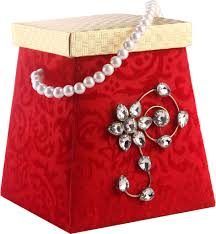 wedding favor box in red and golden colour with floral pattern