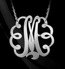 Initial Monogram Necklace Large Sterling Silver Swirly Initial Monogram Necklace Be