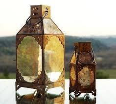 Pottery Barn Lantern Paned Mercury Glass Lanterns Pottery Barn