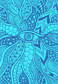 eye pattern clothes zen doodle or zen tangle texture or pattern with eye in blue stock