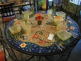 Mosaic Dining Room Table Flower Mosaic Tile Patterns Fairy Intended Design Inspiration