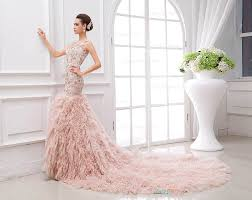 custom wedding dress fantastic custom blush flounce illusion neck sequin patterns
