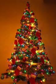 christmas tree with colored lights decorated christmas tree xmasblor