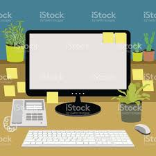 office desk with telephone computer keyboard and plants vector