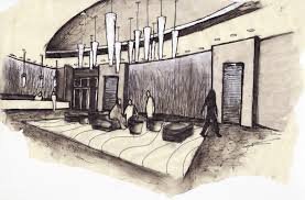 Interior Decoration Sketches Lobby Interior Drawing Mapo House And Cafeteria