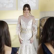 bridal hairstyle for gown aria u0027s wedding dress on pretty little liars popsugar fashion