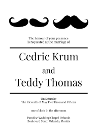 mustache invitations lgbt wedding invitations groom mustache