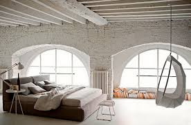 modern white bedroom industrial style brick with hanging swing