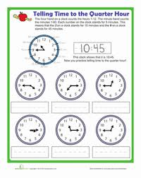 telling time to the quarter hour worksheet education com