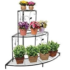 Design Flower Pots Amazon Com Black Floral Design Metal Step Style 3 Tier Corner