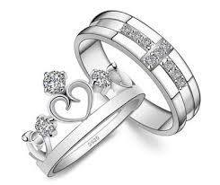 wedding ring set for cubic zirconia cross wedding band and open heart crown ring set
