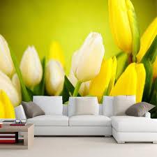 wallpaper bunga tulip 3d wallpaper indah bunga tulip kuning foto dinding dekorasi lukisan