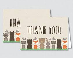 woodland thank you etsy