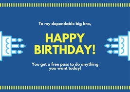 blue and yellow cake brother birthday card templates by canva