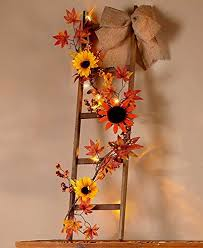 lighted harvest fall wooden ladder decor sunflower vine autumn