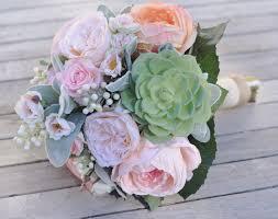 Silk Bridal Bouquets Silk Wedding Bouquet Bride Bouquet Peach And Pink Cabbage