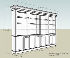 Wood Bookcase Plans Free by Built In Bookshelf Nice Dimensions And Doors How To Raise Up On