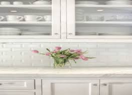 Mini Subway Tile Kitchen Backsplash by White Beveled Subway Kitchen Backsplash Tiles Ellajanegoeppinger Com