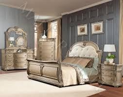 buff wood finish tufted upholstered sleigh bedroom set