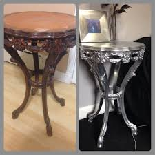 Refurbished End Tables by Rustoleum Chrome Finish Spray Paint Before And After Refurbished
