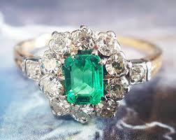 emerald antique rings images Emerald engagement ring antique emerald ring vintage jpg