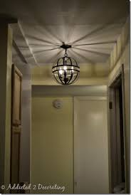 Pendant Lights For Hallways Metal Orb Light Fixture Created With Two Hanging Garden Baskets