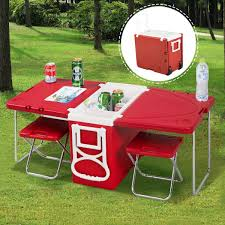 Garden Table And 2 Chairs Amazon Com Giantex Multi Function Rolling Cooler Picnic Camping
