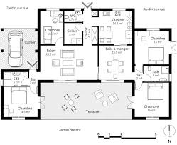 plan maison 4 chambres plain pied gratuit plan de maison plain pied en u cuisine gorgeous plan maison en u