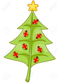christmas design featuring a leaf shaped like a christmas tree