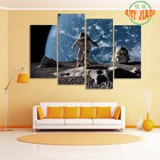 online shop 4 pieces canvas art astronaut on asteroid looking at
