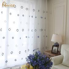 Geometric Pattern Curtains Modern White Tulle Sheer Curtain Geometric Pattern Voile Window