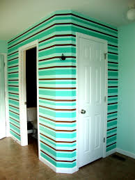 bathroom wall painted strips with three colors tips always