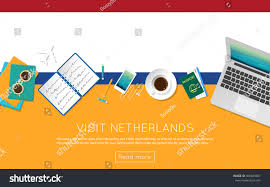 visit netherlands concept your web banner stock vector 450849067