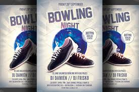 bowling night flyer template flyer templates creative market