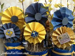 banquet centerpieces jenkins kid farm blue and gold banquet centerpiece lollies in a can