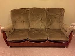 rare vintage g plan 3 seater green and teak saddle sofa 60s 70s